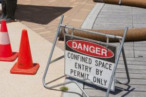 Sign warning of dangerous work underway
